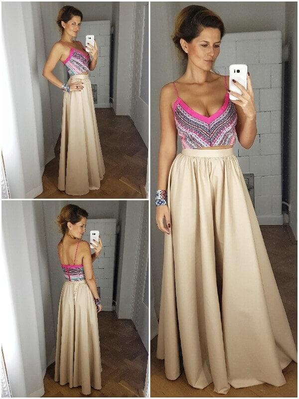 suknia wieczorowa cielista z koronkową bluzką collage Custom made wedding dresses