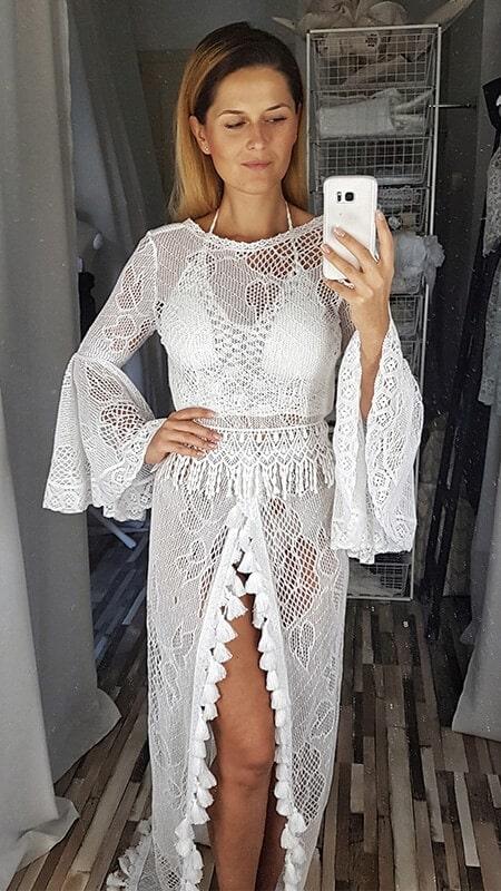 szydełkowa koronkowa suknia ślubna - przód