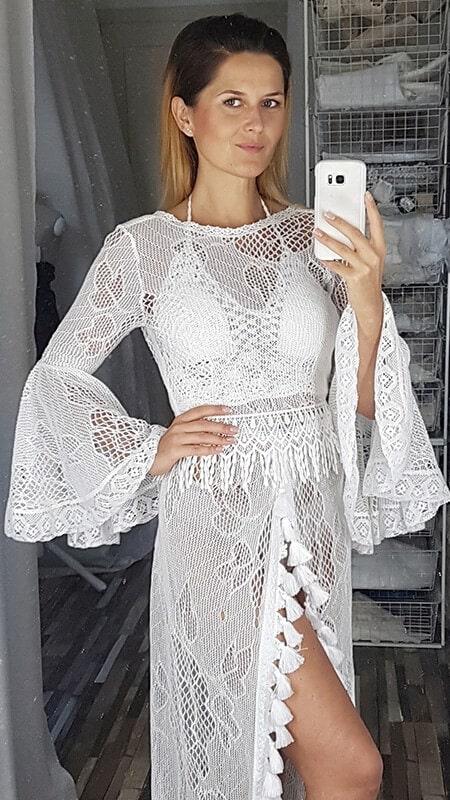 szydełkowa koronkowa suknia ślubna - detale