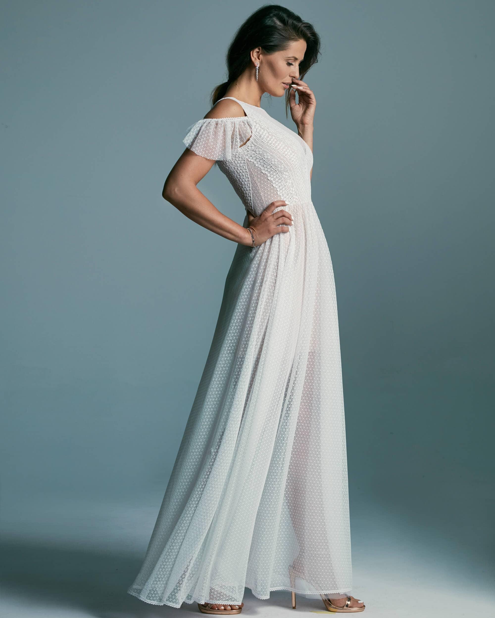 Dziewczęca suknia ślubna nawiązująca do stylu greckiego - Santorini 2