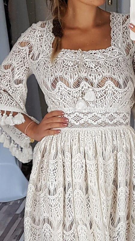 krótka koronkowa suknia ślubna - detale