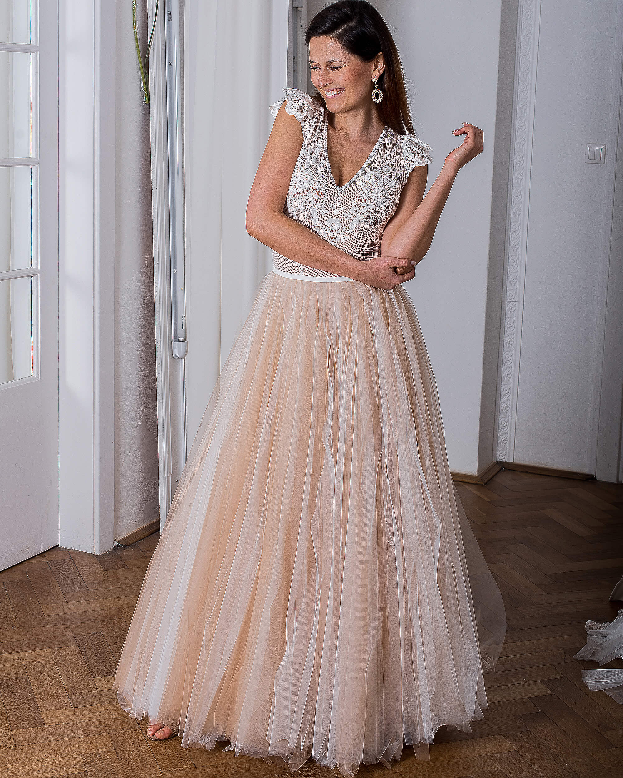 Koronkowy top i tiul - suknia ślubna model 25 kolekcja Porto