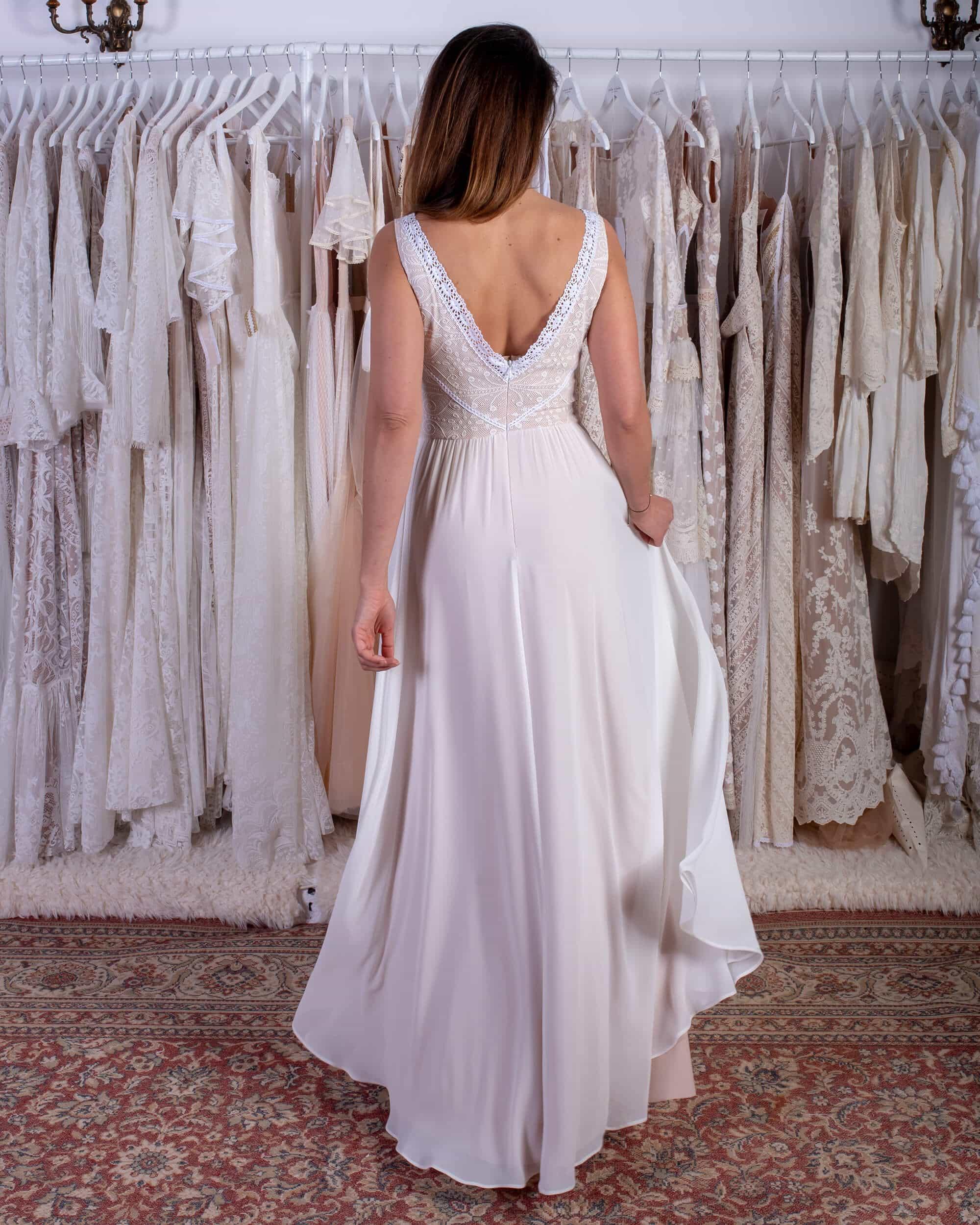 suknia ślubna z muślinu szyfonu