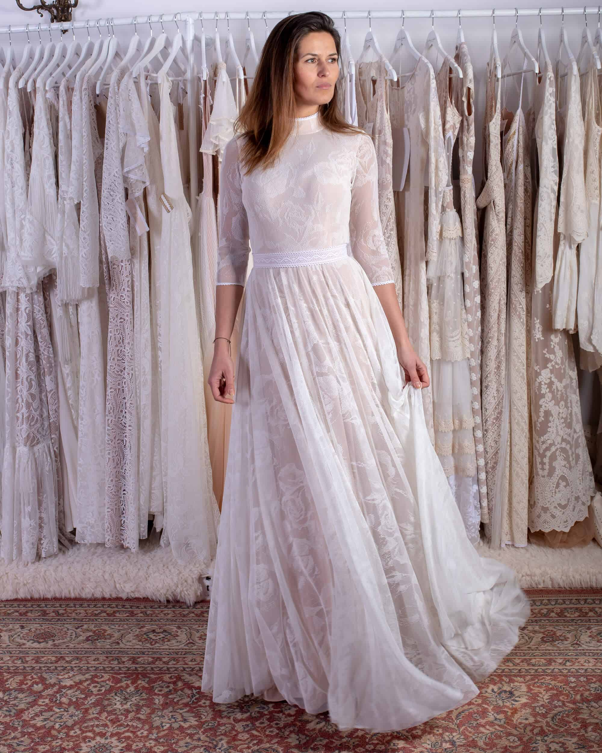 suknia ślubna retro ze stójką