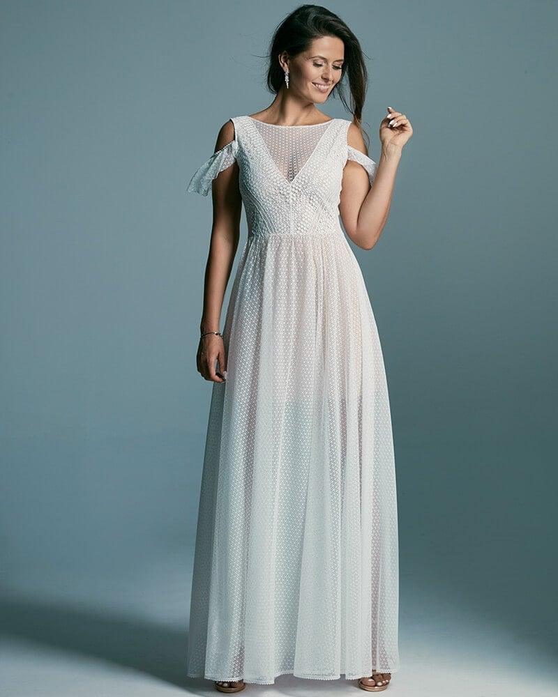 Dziewczęca suknia ślubna nawiązująca do stylu greckiego Santorini 2 header Santorini wedding dresses collection