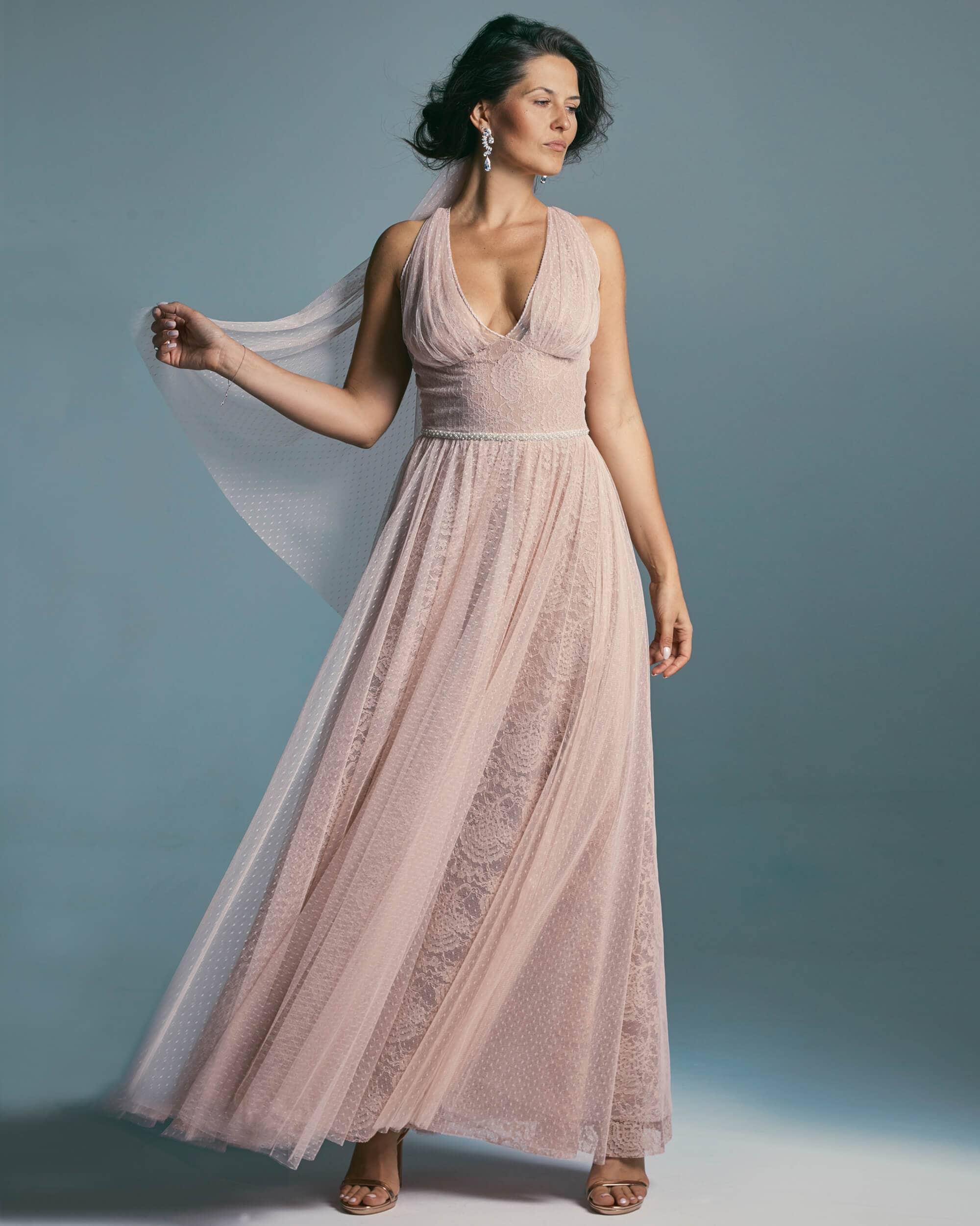 Suknia ślubna w kolorze różu o brzoskwiniowym odcieniu - Venezia 5