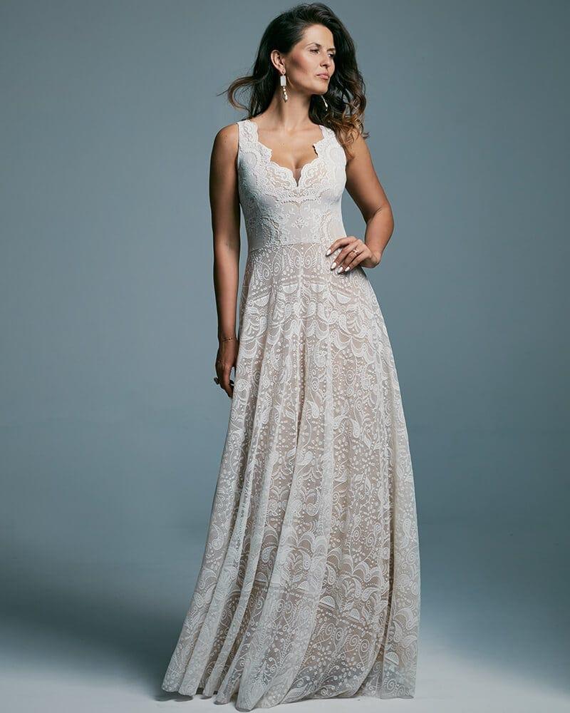 Suknia ślubna z szerokimi ramiączkami wyrównująca proporcje Porto 47 header Porto wedding dresses collection