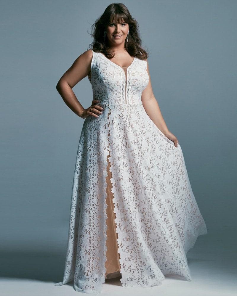 suknia ślubna plus size w kolorze ciepłej bieli Santorini 1 2 Plus size wedding dresses