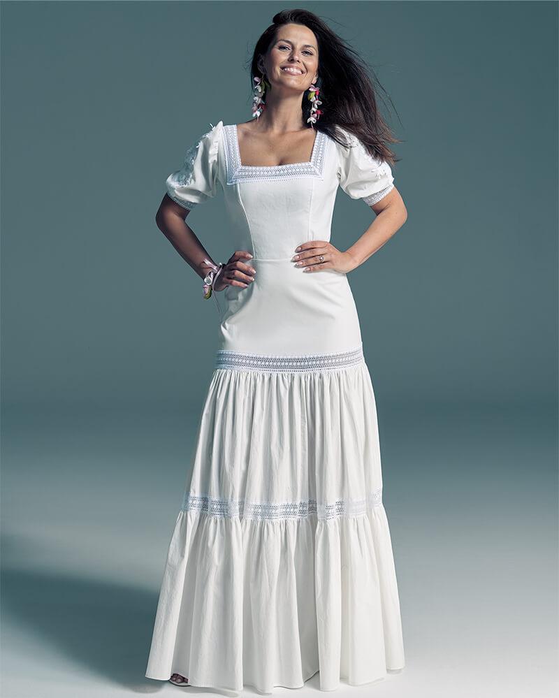 Bawełniana suknia ślubna eko z bufiastymi rękawami Slavica 2 Collections of wedding dresses