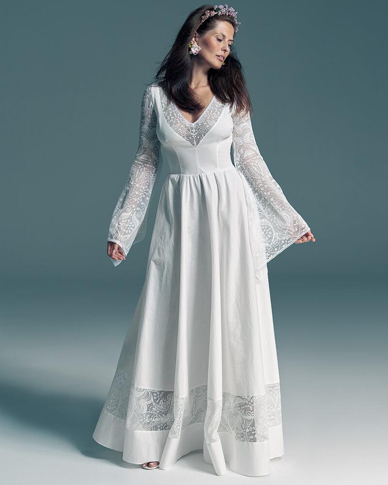 Bawełniana suknia ślubna z rękawami w klimacie bajkowym Slavica 5 Collections of wedding dresses