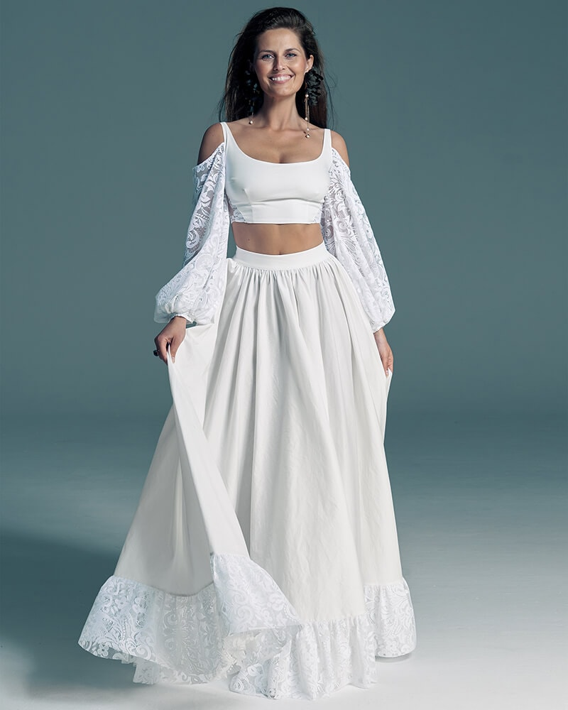 Ekologiczna suknia ślubna z bufiastymi rękawami komplet Slavica 4 Collections of wedding dresses
