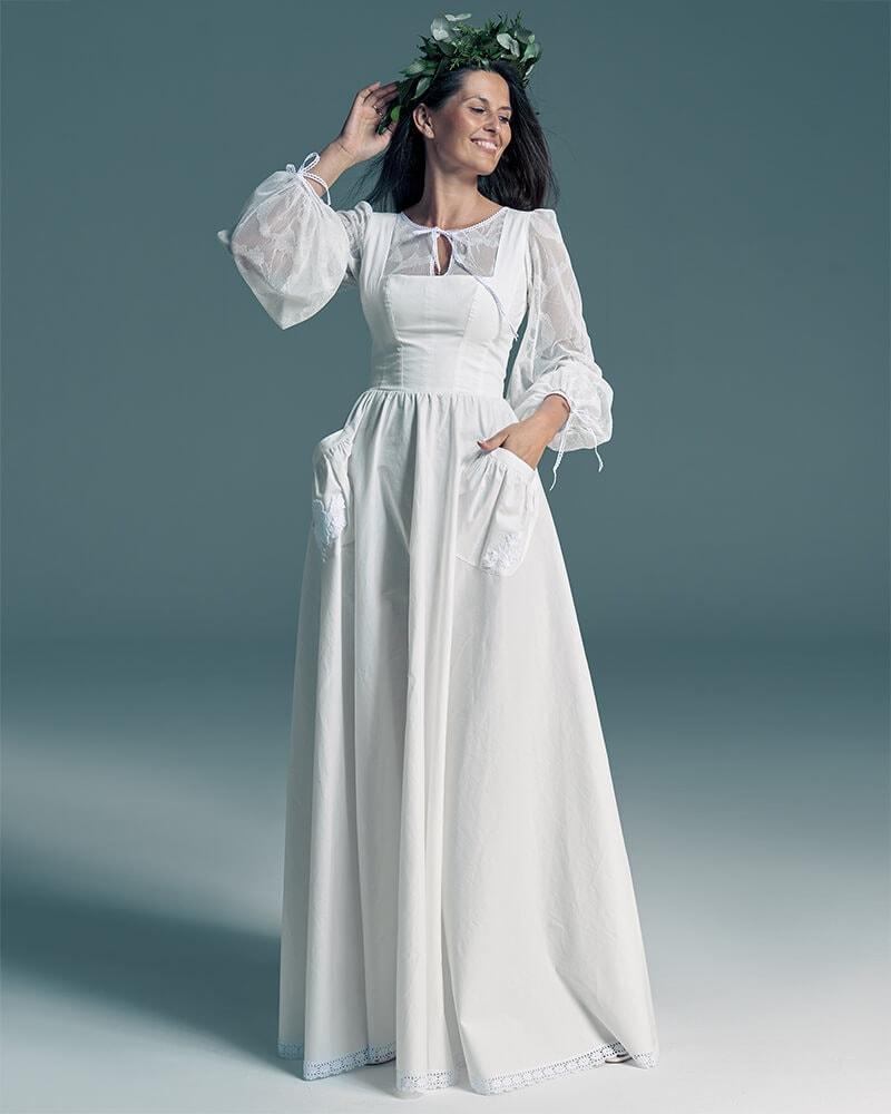 Gładka suknia ślubna z koronkowymi bufiastymi rękawami Slavica 8 Collections of wedding dresses